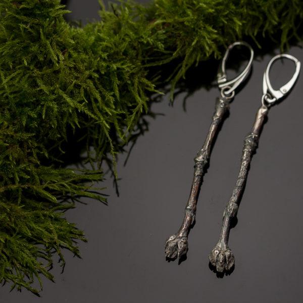 Sidabriniai auskarai šakelės